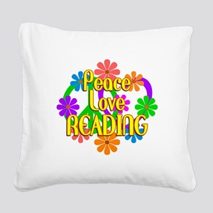 Peace Love Reading Square Canvas Pillow