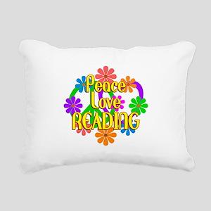 Peace Love Reading Rectangular Canvas Pillow
