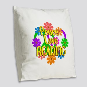 Peace Love Reading Burlap Throw Pillow