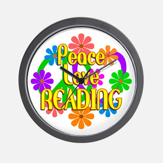 Peace Love Reading Wall Clock