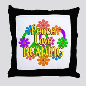 Peace Love Reading Throw Pillow
