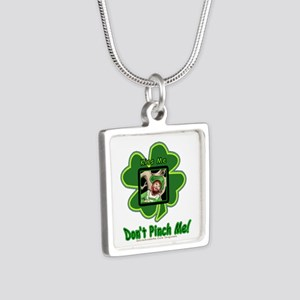 Pinch Me Shamrock Silver Square Necklace