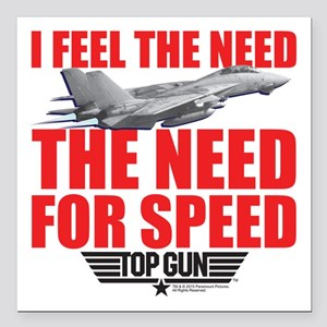 "Top Gun - Need for Speed Square Car Magnet 3"" x 3"""