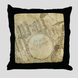Vintage Drums & Guitar Throw Pillow
