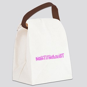 Martyrologist Pink Flower Design Canvas Lunch Bag