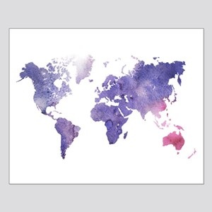 Purple Watercolor World Map Posters