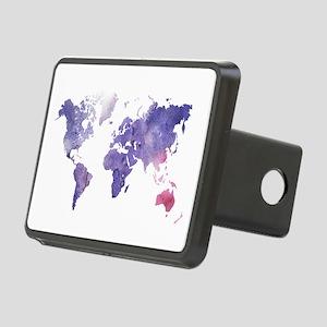 Purple Watercolor World Map Hitch Cover