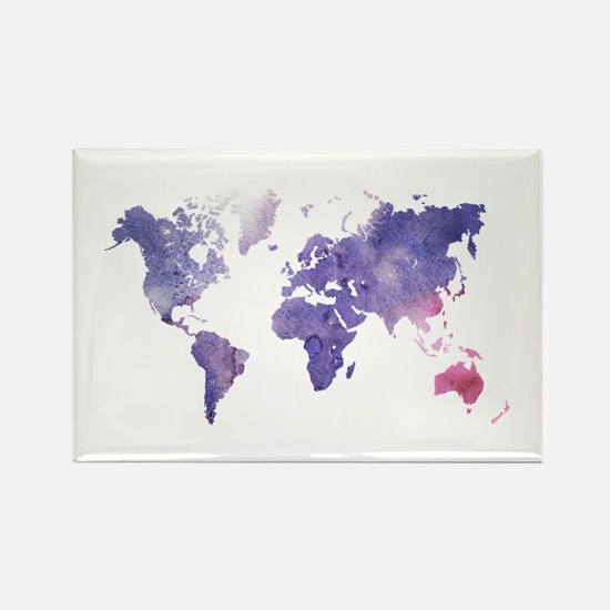 Purple Watercolor World Map Magnets