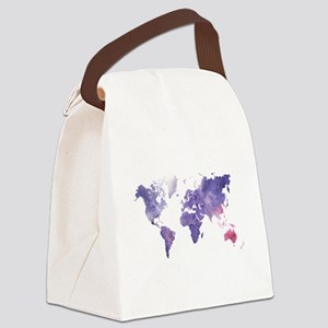 Purple Watercolor World Map Canvas Lunch Bag