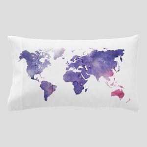 Purple Watercolor World Map Pillow Case