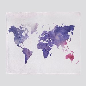 Purple Watercolor World Map Throw Blanket