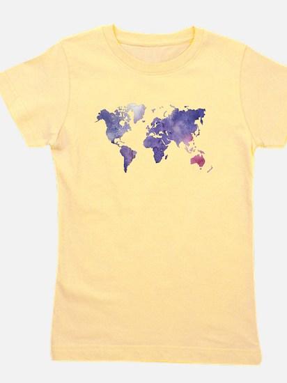 Purple Watercolor World Map Girl's Tee