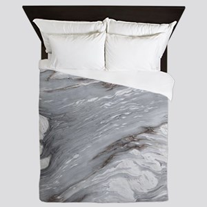 abstract chic white marble Queen Duvet