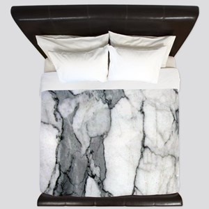 abstract chic white marble King Duvet
