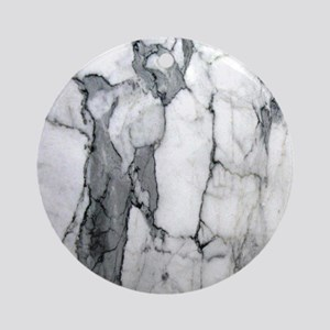 abstract chic white marble Round Ornament