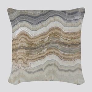 abstract chic white marble Woven Throw Pillow