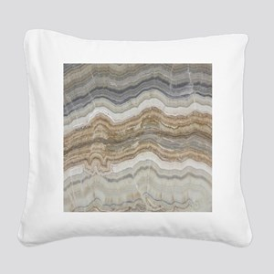 abstract chic white marble Square Canvas Pillow