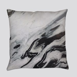 modern black white marble Everyday Pillow