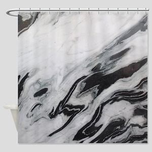 modern black white marble Shower Curtain