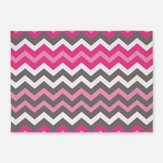 Hot Pink Mixed Chevrons 5 X7 Area Rug