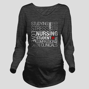 Nursing Student Text Long Sleeve Maternity T-Shirt