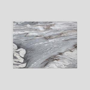 abstract grey marble swirls 5'x7'Area Rug