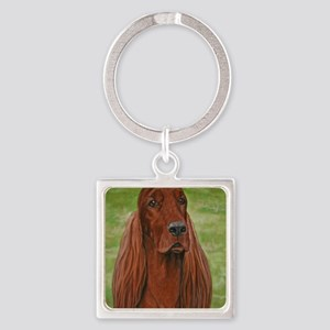 Irish Setter Head Study 3 Square Keychain