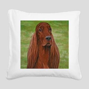 Irish Setter Head Study 3 Square Canvas Pillow