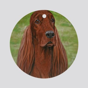 Irish Setter Head Study 3 Round Ornament