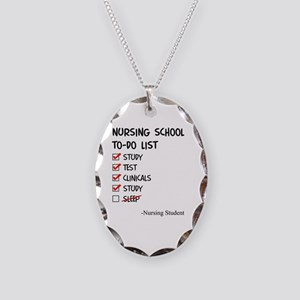 Nursing Student To-Do List Necklace Oval Charm