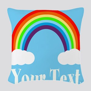 Personalizable Rainbow Woven Throw Pillow