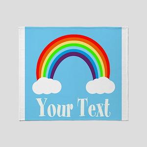 Personalizable Rainbow Throw Blanket