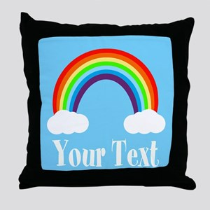 Personalizable Rainbow Throw Pillow