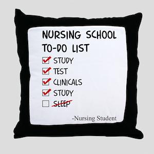 Nursing Student To-Do List Throw Pillow