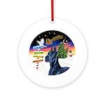 Xsigns-Blue Great Dane Round Ornament
