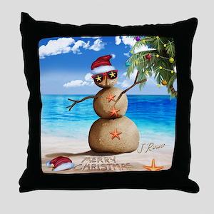 J Rowe Sandman Snowman Throw Pillow