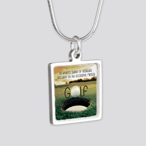 The Miracle of Golf Silver Square Necklace
