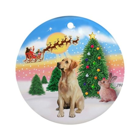 Santa's Take Off (2) & Yellow Lab Ornament (Round)