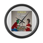 Zombie Table Manners Large Wall Clock