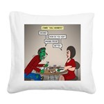 Zombie Table Manners Square Canvas Pillow