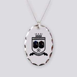 Men in Blazers Patch Necklace Oval Charm