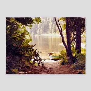 Rowboat by the lake 5'x7'Area Rug