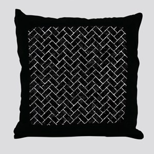 BRICK2 BLACK MARBLE & SILVER FOIL (R) Throw Pillow
