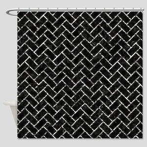 BRICK2 BLACK MARBLE & SILVER FOIL ( Shower Curtain