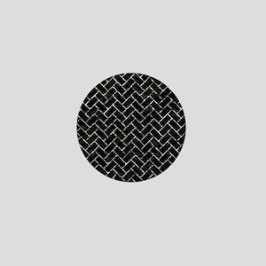 BRICK2 BLACK MARBLE & SILVER FOIL (R) Mini Button