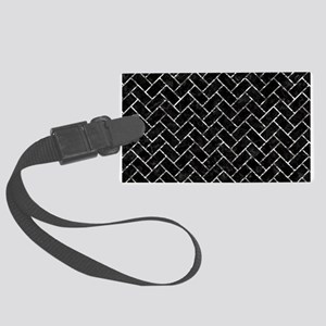 BRICK2 BLACK MARBLE & SILVER FOI Large Luggage Tag