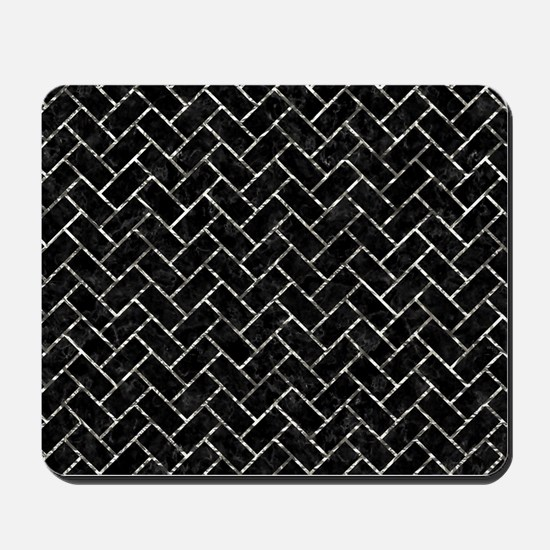 BRICK2 BLACK MARBLE & SILVER FOIL (R) Mousepad