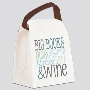 Big Books, Pajamas,Quiet, Wine Bl Canvas Lunch Bag