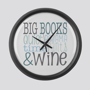 Big Books, Pajamas,Quiet, Wine Bl Large Wall Clock