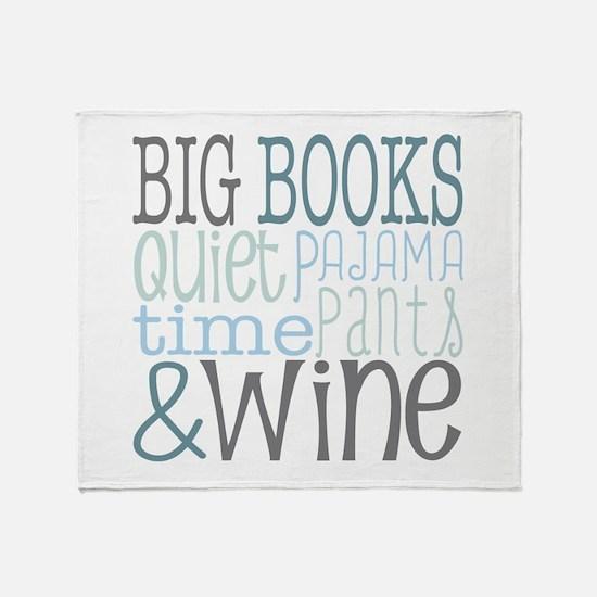 Big Books, Pajamas,Quiet, Wine Blue Throw Blanket